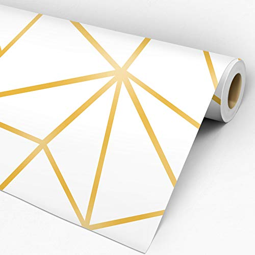 Papel De Parede Auto Adesivo Geométrico Zara Branco e Dourado