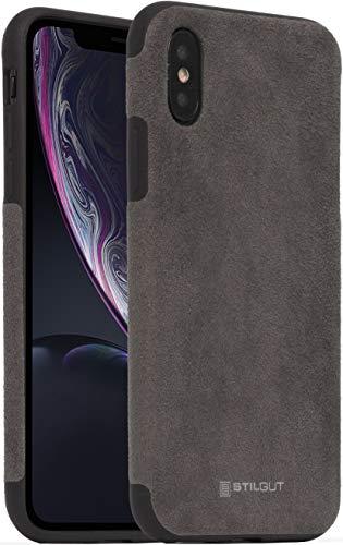 StilGut Alcantara entwickelt für iPhone XS Hülle - iPhone X Case Lederoptik, Bumper aus TPU und Alcantara, grau