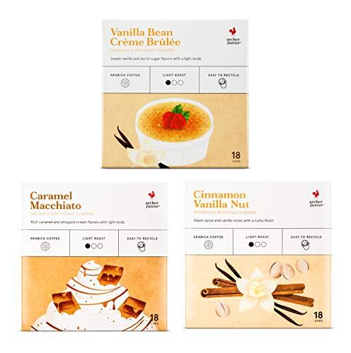 Archer Farms Light Roast Coffee Cups Variety Pack - 3 Flavors - Caramel Macchiato (18 Ct) + Vanilla Bean Crème Brulee (18 Ct) + Cinnamon Vanilla Nut (18 Ct) - Single Serving Pods 54 Cups of Joy