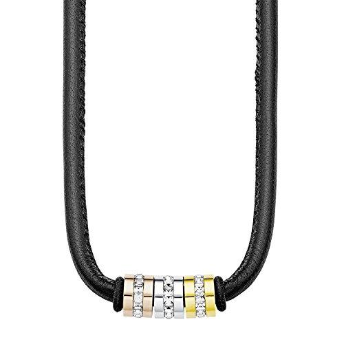S.Oliver Damen Kette mit Anhängern Beads Tricolor Edelstahl IP Gold IP Rosegold Leder Swarovski Kristalle 42+4 cm weiß
