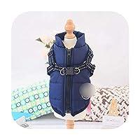 フードが付いている暖かい子犬犬の衣服を厚くする16の様式の冬ペット犬のジャケットのコート-青-XL