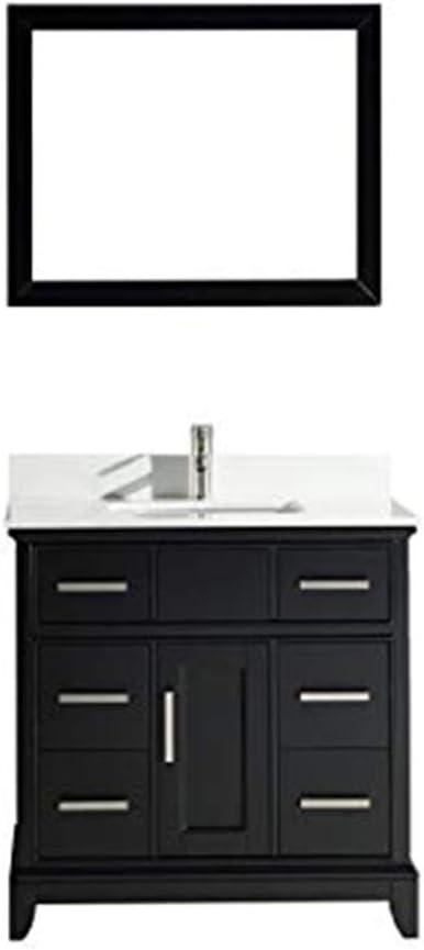 Vanity Art 36 Inches Single Sink Bathroom Vanity Set White Super Phoenix Stone Top 6 Dove Tailed Drawers 1 Shelf Undermount Rectangle Sink Cabinet With Free Mirror Va1036 E Amazon Com
