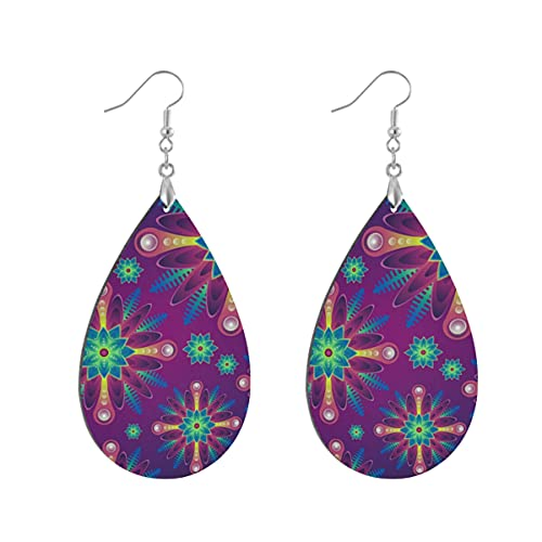 1 par de pendientes de madera con forma de gota de agua, diseño de mandala morado, para mujer, Leaf drop, Madera Cobre Plata,
