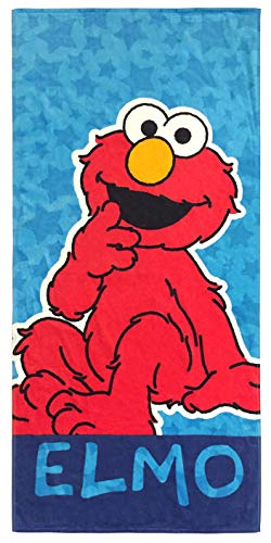 Jay Franco Sesame Street Kids Bath/Pool/Beach Towel - Featuring Elmo - Super Soft & Absorbent Fade Resistant Cotton Towel, Measures 28 inch x 58 inch (Official Sesame Street Product)