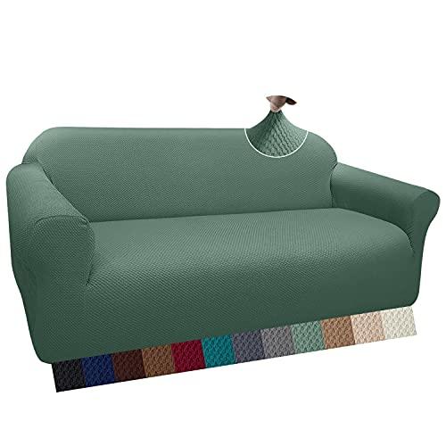 Granbest Thick - Funda de sofá con diseño elegante, elástica, jacquard, con reposabrazos, antideslizante (3 plazas, color salvia)