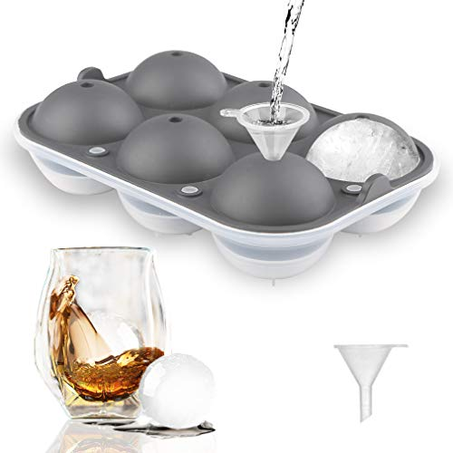 "TGJOR Ice Cube Trays, Easy Release 2.5"" Ice Sphere Mold Tray with Lid, Reusable Ice Ball Maker for Whiskey, Cocktail or Homemade (Funnel Included) grey"
