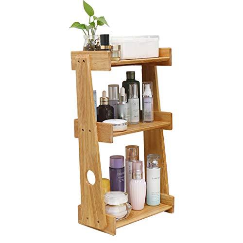 PHH - Estante de baño, organizador de almacenamiento de cosméticos, acabado para sala de estar, organizador de escritorio multicapa con acabado de madera maciza