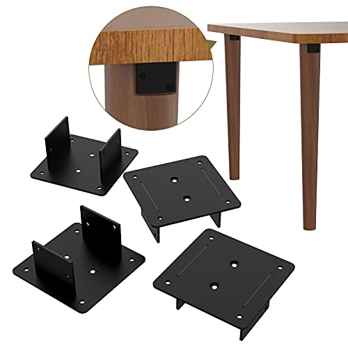 Orgerphy Furniture Leg Mounting Plates for Sofa Leg| π-Shape Straight Style Black Leg Connectors for Table Board| Couch Chair Leg Connector Plate| Metal Plate Brackets with Screws. Set of 4 (Black)