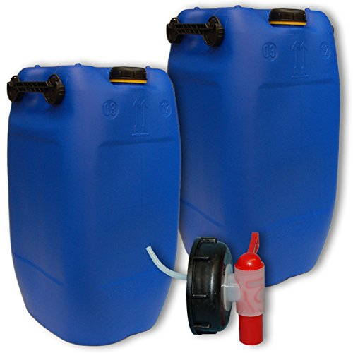 Wilai GmbH Bidons – Lot de 2 Jerricans 60 L, 3 poignées, Bleu + 1 Robinet DIN 71 (22047x2+22045)