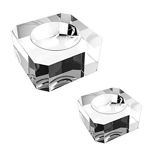 2 Piezas Soporte de Bola de Cristal, Base de Bola Cristal, Soporte Exhibición Bola Cristal, Dedicado Transparente Cuadrado Base Bola Cristal Cuadrada para Bola Cristal, Piedra Esférica (2 Tamaños)