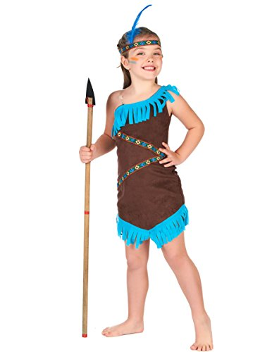 Generique - Disfraz India marrón y Azul para niña 10-12 años (L)