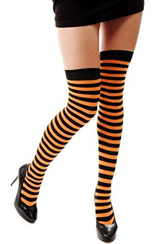 Dress Me Up - Strümpfe Damenstrümpfe Overknees Schwarz Orange gestreift Geringelt Ringelstrümpfe Karneval Z161