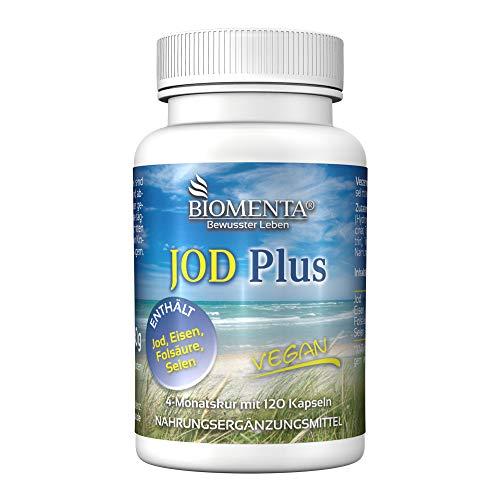 BIOMENTA YODO PLUS | con Yodo + Hierro + Acido Fólico + Selenio | 120 cápsulas veganas de yodo | por cuatro meses