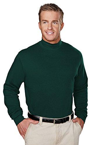 Tri-Mountain Mock Turtleneck for Men - 100% Cotton - Extended Sizes Graduate Shirt - Forest Green - Large