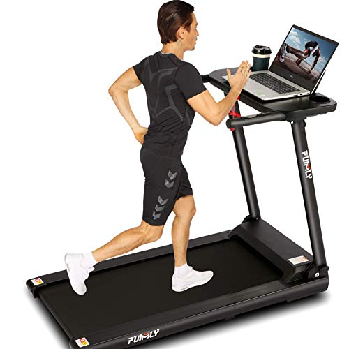 FUNMILY Folding Treadmill, 2.25HP Folding Treadmill with Large Desk and Bluetooth Speaker, Portable Compact Treadmill with 12 Pre-Set Programs and 16.5 Inch Wide Tread Belt,265 LB Max Weight (Black)