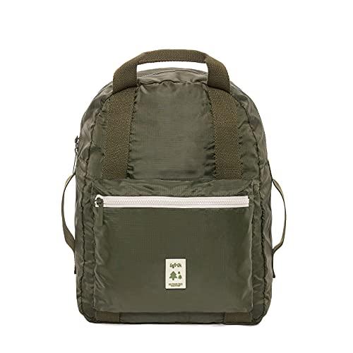 Lefrik - Mochila Pocket Plegable - Para Viajeros con poco Espacio - Tejido 100% Reciclado - Eco Friendly - Con Tela Duradera e Impermeable -16L- Color Olive