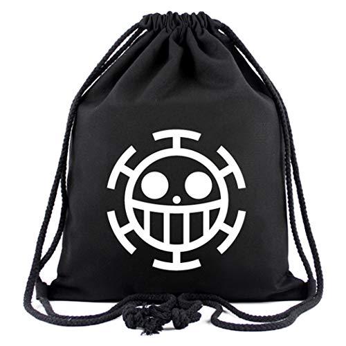 Cosstars One Piece Trafalgar Law Anime Sporttasche Turnbeutel Training Tasche Gym Sack Drawstring Bag Schwarz-2