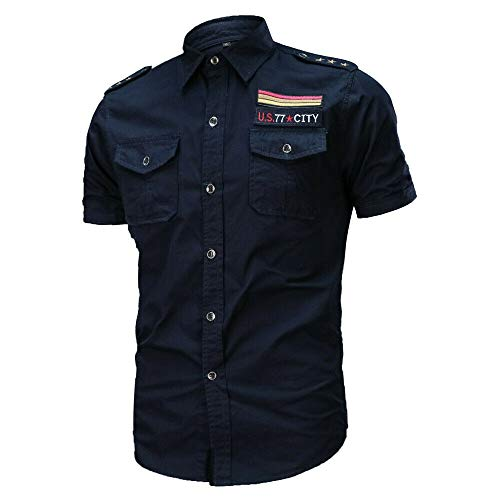 JINSHI Herren Business Hemd Kurz Safarihemd Comfort Fit Shirts Army mit Schulterklappen Dunkel-Blau L