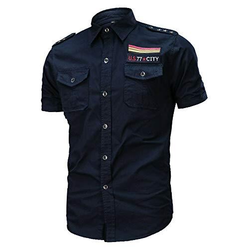 JINSHI Hombre Camisa Casual de Estilo Militar Chaqueta Leñador de Manga Corta 100% Algodón Azul Marino Large