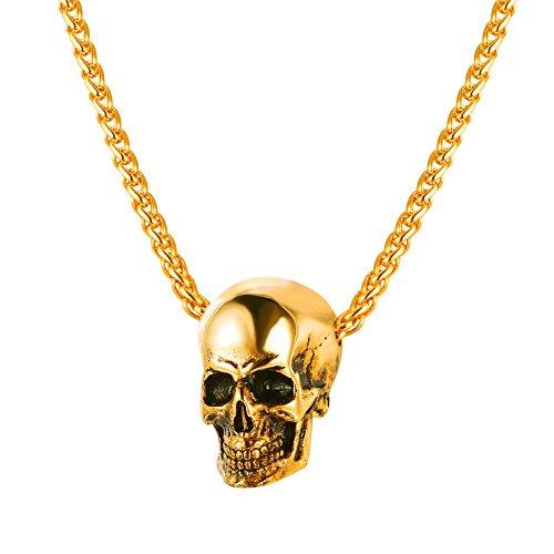 U7 Colgantes Halloween Bañado en Oro Hombre Collares calavara cráneo Acero Inoxidable Joyería Hip Hop para Jovenes Punk
