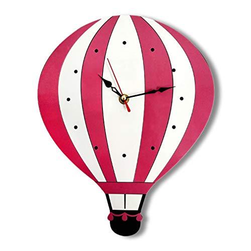 JYCTD Reloj De Pared De Dibujos Animados, Creativa Aire Caliente AcríLico Silencio Globo NiñOs Fondo DecoracióN SalóN Dormitorio Colorido, Pink