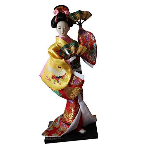 F Fityle Modelo Muñeca Kimono Japonesa Geisha Escala 1/6 - Amarillo