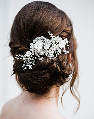 SWEETV Perle Strass Blatt Blüten Hochzeit Haarnadeln Haarkämme für Braut Brautjungfer