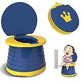 Orinal Bebe, SVTEOKO Orinal Portatil 2 in 1 Asiento Inodoro Plegable para Niños Inodoro para Niños Pequeños, Interior y Exterior Con Orinal (Azul)