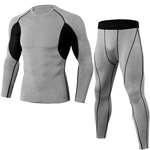 Gafeng Mens Workout Set Compression Shirts Pants Contrast Color Tight Quick Dry Running Yoga Jogger Base Layer Suit Light Gray