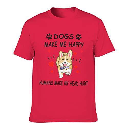 LL·Shawn Camiseta de algodón para hombre con texto en inglés 'Dogs Make Me Happy - Humor Sarcasm Leisure Summer Shirt