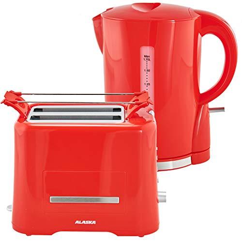 Alaska Frühstücksset 2209 | Rot | 2 in 1 | Wasserkocher + Toaster | 1,7 L | 2 Scheiben | Brötchen-Röstaufsatz | Auftau-, Aufback- und Unterbrechungsfunktion | Abschaltautomatik | Kabellose Benutzung