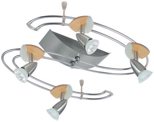 Paulmann 965.17 Rail System Twister Cannes 4x35W GU5,3 Eisen gebürstet/Holz 230/12V Niedervolt 150VA 96517 Deckenleuchte Deckenlampe