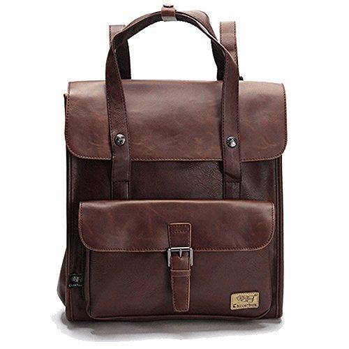 DokinReich Retro PU-Leder Vintage Rucksack Wanderrucksack Hiking Backpack Damen Herren Schultertasche PU...