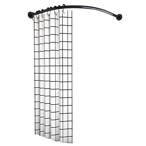 QYY Shower Curtain Rod Curved, L-Shaped Corner Bath Curtain Rail Bar Shower Poles Extendable No Drill/Drill Holes Stainless Steel for Bathroom, Clothing Storeblack-70 to 95×70 to 95 cm