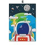 XWArtpic Kreative Astronaut Alphabet Zahlen Kindergarten Wandkunst Leinwand Malerei Nordic Poster Und Drucke Wandbilder Kinderzimmer Dekor 50 * 70 cm