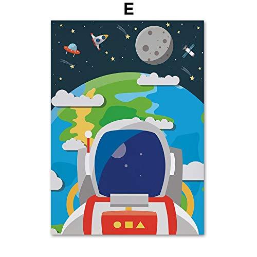 Preisvergleich Produktbild XWArtpic Kreative Astronaut Alphabet Zahlen Kindergarten Wandkunst Leinwand Malerei Nordic Poster Und Drucke Wandbilder Kinderzimmer Dekor 50 * 70 cm