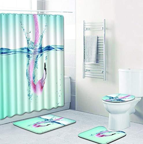 EZEZWSNBB 4-teiliges Duschvorhang-Set mit rutschfesten Teppichen, WC-Deckelbezug und Badematte, Rosa Flamingo-Duschvorhang wasserdicht mit 12 Haken 180x180 cm Haus Dekoration