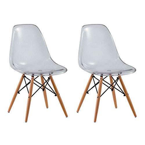 Conjunto com 2 Cadeiras Eames Eiffel Premium Base Madeira Transparente