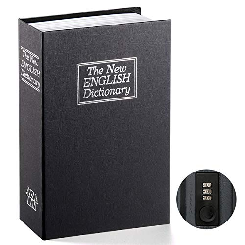 Book Safe with Combination Lock - Jssmst Home Dictionary Diversion Metal Safe Lock Box for Home Office Code Lock Money Box High Capacity, 9.5 x 6.2 x 2.2 inch, SM-BS0402L, black large