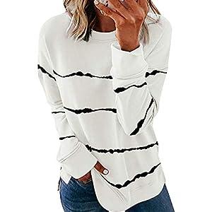 Biucly Womens Fashion Crewneck Tie Dye Sweatshirt Striped Printed Oversized Loose Soft Long Sleeve Fall Pullover Tops Shirts Hoodies & Sweatshirts,US 4-6(S),White