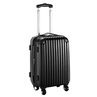 Goplus New GLOBALWAY 20  Expandable ABS Carry On Luggage Travel Bag Trolley Suitcase (Black)