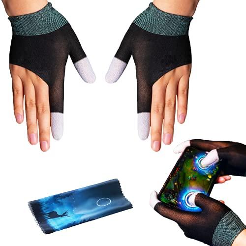 BAYINBROOK El último material de fibra plateada G1 transpirable guantes de dedo a prueba de sudor pantalla táctil controlador dedo pulgar caso para PUBG teléfono móvil juegos accesorios (un par)