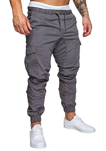 Minetom Pantaloni Uomo Lunghi Cargo con Coulisse Tasche Laterali Trousers della di Sport Pants Elastici Casual Maschi Grigio Medium