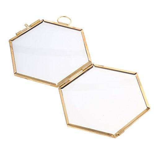 MagiDeal Glas Hexagon Bild Rahmen Foto Rahmen Hängen Rahmen - Kupfer, 8.8 x 8.5cm