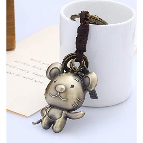 Hombres llavero de cuero, ratón de dibujos animados 12 forma de zodiaco vintage vintage tejido de aleación mano de aleación artesanía colgante de anillo de llavero, pareja de accesorios únicos amigo a