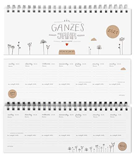 Design Tischkalender 2021 von Eine der Guten - Ein ganzes Jahr - Querformat, Weiß, umweltfreundlich aus Recyclingpapier, Wochenplaner & Terminplaner m. Feiertage und Schulferien