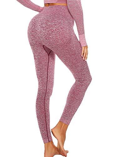 CROSS1946 Camiseta deportiva de manga larga para mujer, camiseta de yoga, push up, camiseta de compresión, camiseta deportiva de manga larga y mallas anticelulitis Pantalones rojos. S