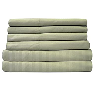 Sweet Home Collection 6 Piece 1500 Thread Count Deep Pocket Bed Sheet Set - 2 Extra Pillow Cases, Great Value,Dobby Sage,Queen