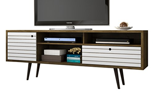 Manhattan Comfort Liberty Collection Mid Century Modern TV Stand With Three Shelves, One Cabinet and One Drawer With Splayed Legs, Wood/White