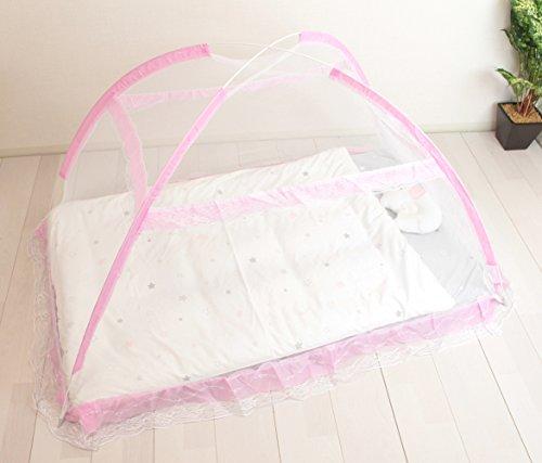 イマージ蚊帳ピンクベッド用かや広げるだけで被せられる簡単な蚊帳
